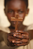 Young African Christian Holding a Cross Photographic Print