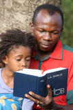 Father and Daughter Reading the Bible Photographic Print