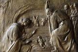 Sculpture on the Main Door of the Chiesa della SS. Annunziata Depicting a Nativity Scene Photographic Print