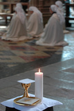 Mass in Mont Saint Michel Abbey Church Photographic Print