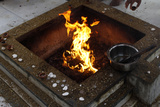 Dhooni (Sacred Fire) in Krishna Temple in New Delhi Photographic Print