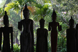 Line of Old Wooden Buddha Photographic Print