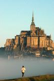 Jogging at Mont Saint Michel Photographic Print