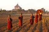 Burmese Novice Buddhist Monks Going for Alms Papier Photo