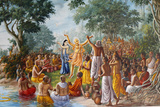 Painting at Bhaktivedanta Manor, Lord Caitanya, Lord Nityananda and Followers on Ganges Photographic Print