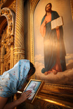 Faithful Touching an Icon in St Stephen's Bulgarian Church Photographic Print