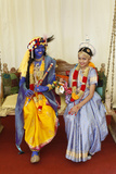 Couple Impersonating Hindu Gods Krishna and Radha Photographic Print