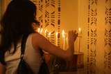 Armenian Patriarchate Church, Woman Lighting a Candle Photographic Print