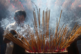 Quan Am Pagoda, Burning Incense During Tet, the Vietnamese Lunar New Year Celebration Photographic Print