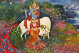 Bhaktivedanta Manor Painting Depicting Krishna and a Cow Lámina fotográfica