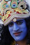Man Impersonating Hindu God Krishna Photographic Print