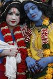 Children Impersonating Hindu Gods Radha and Krishna Photographic Print