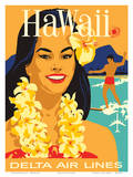 Delta Air Lines - Hawaii - Hawaiian Island Girl wearing a Flower Lei and a Surfer Affiches