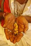 Sadhvi (Female Sadhu) Showing a Ganesh Pendant at the Kumbh Mela in Haridwar Photographic Print