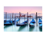 Venetian Gondolas At Sunset Photographic Print by Francesco Carovillano
