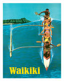United Air Lines - Waikiki - Outrigger Canoe Surfing Giclee Print by Stan Galli