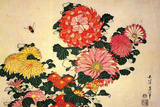 Katsushika Hokusai Chrysanthemums and a Bee ポスター : 葛飾・北斎