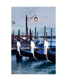 Venetian Gondolas And Wooden Piers Photographic Print by Francesco Carovillano