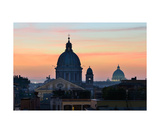 Rooftops With Churches Domes At Sunset In Rome Photographic Print by Francesco Carovillano