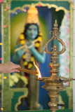 Shiva Temple, Oil Lamp and Incense Sticks Photographic Print