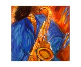 Le Saxophoniste En Bleuii Photographic Print by Christiane Guerry