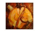 Le Saxophoniste En Jaune Photographic Print by Christiane Guerry