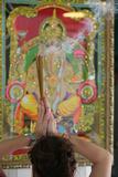 Shiva Temple, Worshipper Praying Ganesha Photographic Print