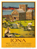 Iona - See this Scotland by MacBraynes Steamers - Celtic Cross at Iona Abbey Posters by Tom Gilfillan
