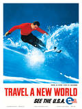 Skiing at Aspen, State of Colorado - Travel A New World - See the USA Affiches