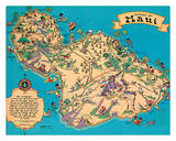 Hawaiian Island Of Maui - Hawaii Tourist Bureau Giclee Print by Ruth Taylor White