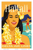 Delta Air Lines - Hawaii - Hawaiian Island Girl wearing a Flower Lei and a Surfer Posters