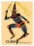 Cuba - Alegre Como Su Sol (Cheerful as Her Sun) - Native Folk Dancer Posters par Luis Vega De Castro