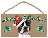 Happy Howlidays Boston Terrier Wood Sign Wood Sign