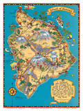 Hawaiian Island of Hawaii (Big Island) Map - Hawaii Tourist Bureau Poster by Ruth Taylor White