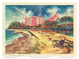 Hawaiis Famous Waikiki Beach - United Air Lines Print by Joseph Fehér