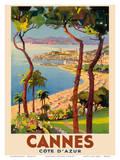Cannes - Côte d'Azur, France - French Riviera Plakat av Lucien Peri