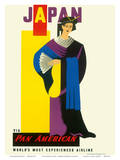 JAPAN, Pan American Airlines (PAA) - Japanese Geisha Girl Posters af Edward McKnight Kauffer