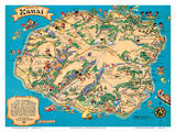 Hawaiian Island of Kauai Map - Hawaii Tourist Bureau Print by Ruth Taylor White