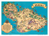 Hawaiian Island Of Maui - Hawaii Tourist Bureau Art by Ruth Taylor White