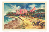 Hawaiis Famous Waikiki Beach - United Air Lines Posters by Joseph Fehér