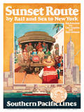 Sunset Route by Rail and Sea to New York - Southern Pacific Lines Art by Michel Cady