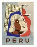 Peru - Head of Inca Native Lámina giclée por  Springett