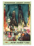 Scandinavian Airlines System - New York by SAS - New York City Times Square Posters par Otto Nielsen