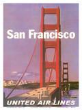 San Francisco - Golden Gate Bridge - United Air Lines Posters tekijänä Stan Galli