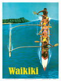 United Air Lines - Waikiki - Outrigger Canoe Surfing Posters by Stan Galli