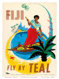 Tasman Empire Airways Limited - Fiji Fly by TEAL - Fijian Native Poles a Canoe Art by Arthur Thompson