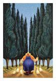 Cipreses y gansos Lámina por Lowell Herrero