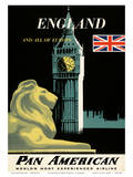 Pan American Airlines (PAA) - England And All Of Europe- Big Ben and British Flag Print by A. Amspoker