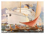 SS Lurline Ocean Liner and Hawaiian Outrigger Sailing Canoe (Wa a) - Matson Lines Prints
