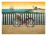 Bicicleta junto a la playa Láminas por Lowell Herrero